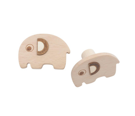 Sebra Wall hooks Fanto the elephant set of 2 natural brown beechwood 13.5x2cm