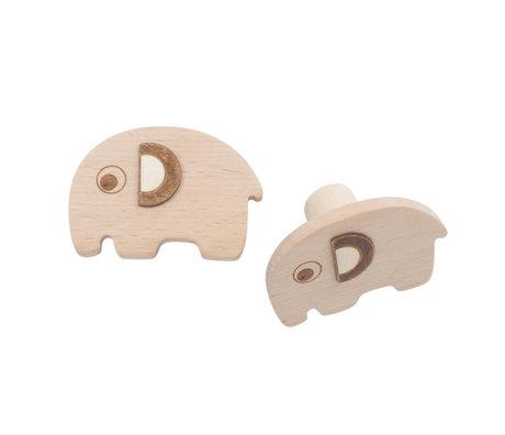 Sebra Wandhaken Fanto der Elefant Satz von 2 natürlichen braunen Buchenholz 13,5x2cm