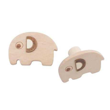 Sebra Crochets muraux Fanto l'éléphant lot de 2 hêtre brun naturel 13,5x2cm