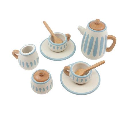 Sebra Service à thé classique blanc vert bleu bois