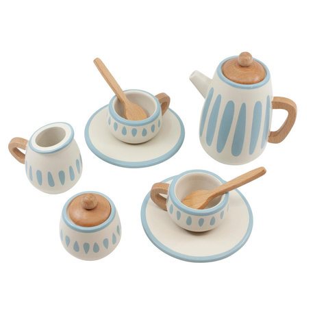 Sebra Tea service classic white green blue wood
