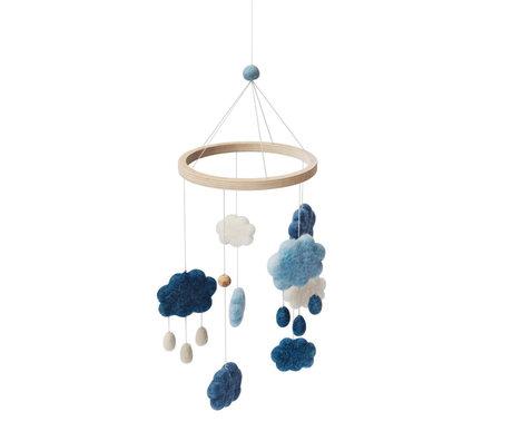 Sebra Mobiel clouds denim blauw wol hout 22x57cm