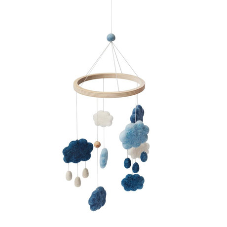 Sebra Mobile clouds denim blue wool wood 22x57cm