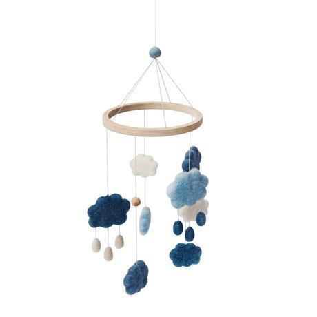 Sebra Mobile Wolken Denim blaues Wollholz 22x57cm