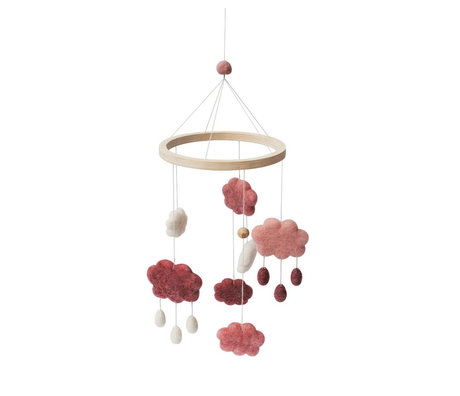 Sebra Mobile clouds candy pink wool wood 22x57cm