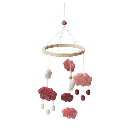 Sebra Mobiel clouds candy roze wol hout 22x57cm