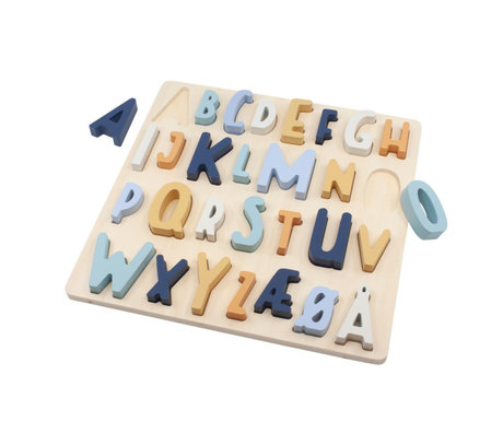 Sebra Legpuzzel ABC denim blauw hout 30x30x3cm