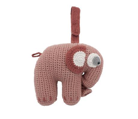 Sebra Mobile musical Fanto l'éléphant rose poudré coton 17x25cm