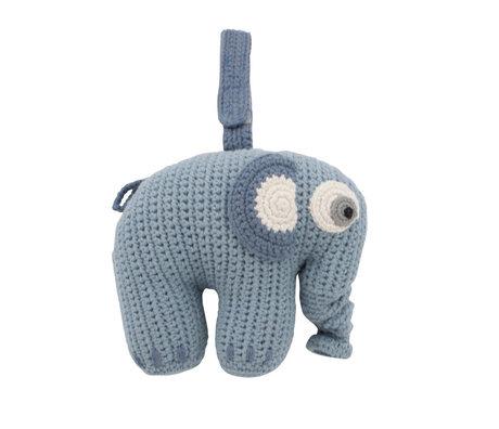 Sebra Mobile musical Fanto l'éléphant bleu poudre coton 17x25cm