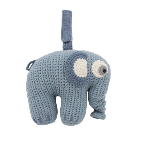 Sebra Muziekmobiel Fanto the elephant poeder blauw katoen 17x25cm