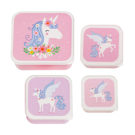 A Little Lovely Company Lunch box Unicorn pink bpa and phthalate free pvc set of 4