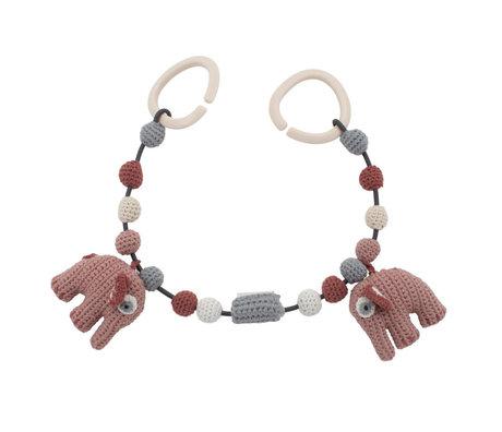 Sebra Wagenspanner Fanto the elephant poeder roze katoen 53cm incl. clips