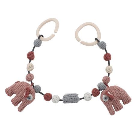 Sebra Tendeur de landau Fanto l'éléphant rose poudré coton 53cm clips inclus