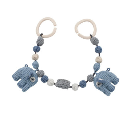 Sebra Kinderwagenspanner Fanto der Elefant puderblaue Baumwolle 53cm inkl. Clips