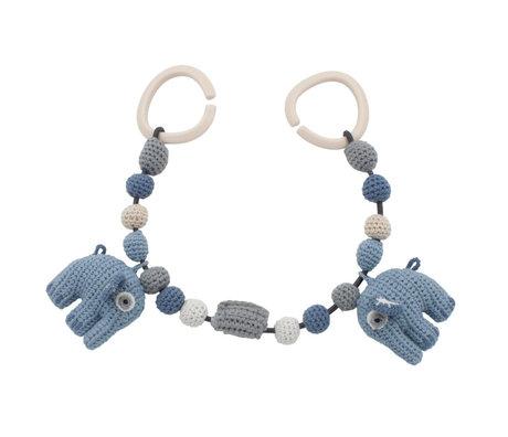 Sebra Wagenspanner Fanto the elephant poeder blauw katoen 53cm incl. clips