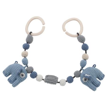 Sebra Tendeur de landau Fanto l'éléphant bleu poudre coton 53cm clips inclus