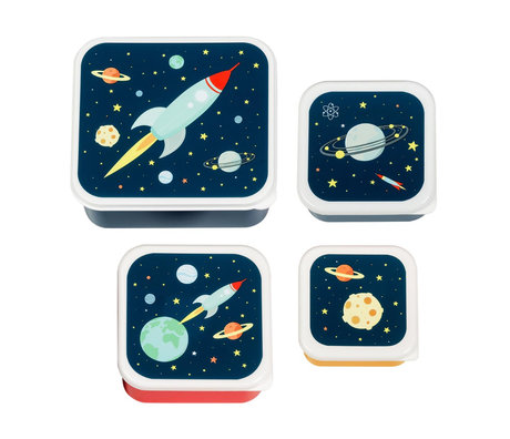 A Little Lovely Company Lunch box Space blue bpa and phthalate free pvc set of 4