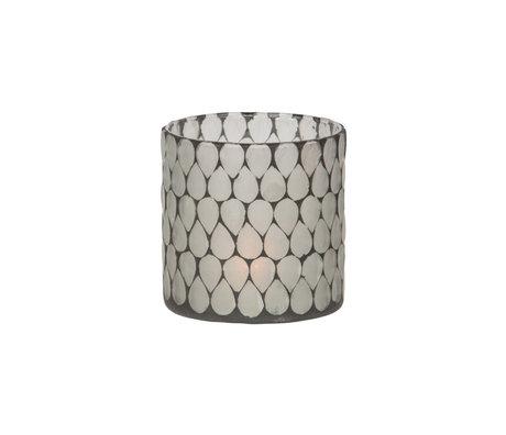 WOOOD Tea light holder Zito black white glass 10x10x10cm