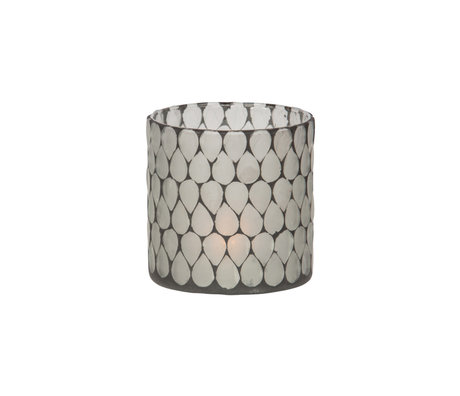 WOOOD Teelichthalter Zito schwarz weiß Glas 10x10x10cm