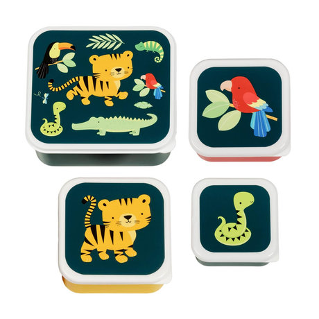 A Little Lovely Company Brotdose Jungle Multicolor bpa und phthalatfreies PVC-4er-Set