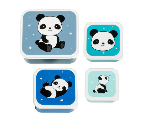 A Little Lovely Company Lunchbox Panda blauw bpa en ftalaat vrij pvc set van 4