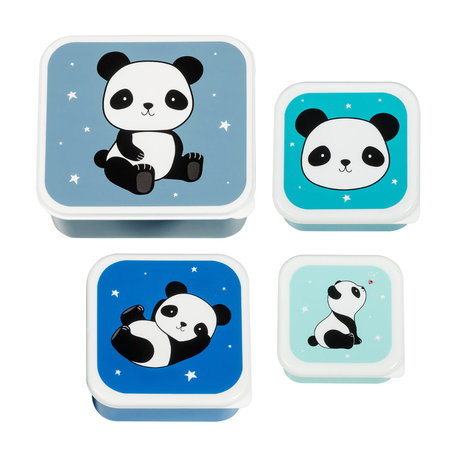 A Little Lovely Company Lunch box Panda blue bpa and phthalate free PVC set of 4