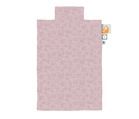 Sebra Duvet cover Jersey junior forest powder pink 100x140cm incl. Pillowcase 45x40cm