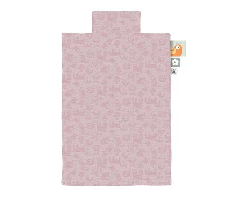 Sebra Housse de couette Jersey junior forêt rose poudré 100x140cm avec taie d'oreiller 45x40cm
