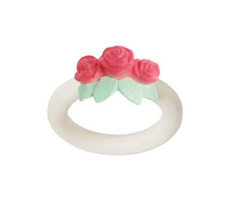 A Little Lovely Company Anneau de dentition Rose blanc rose sans bpa et sans phtalate PVC 9x11x4cm