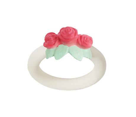 A Little Lovely Company Bijtring Rose wit roze bpa en ftalaat vrij pvc 9x11x4cm
