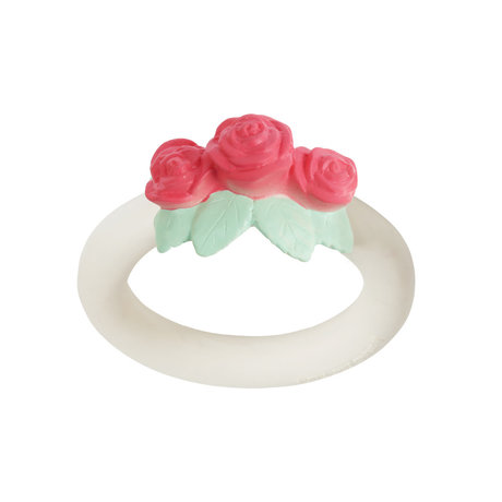 A Little Lovely Company Teething ring Rose white pink bpa and phthalate free PVC 9x11x4cm