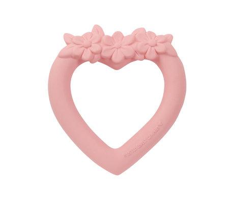 A Little Lovely Company Bijtring Hart roze bpa en ftalaat vrij pvc 9x11x2cm