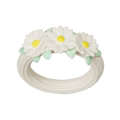 A Little Lovely Company Beißring Gänseblümchen weiß gelb bpa und phthalatfreies PVC 9x11x2cm