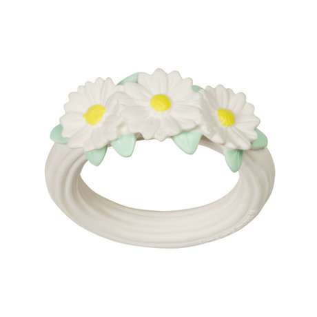 A Little Lovely Company Teething ring Daisies white yellow bpa and phthalate free PVC 9x11x2cm