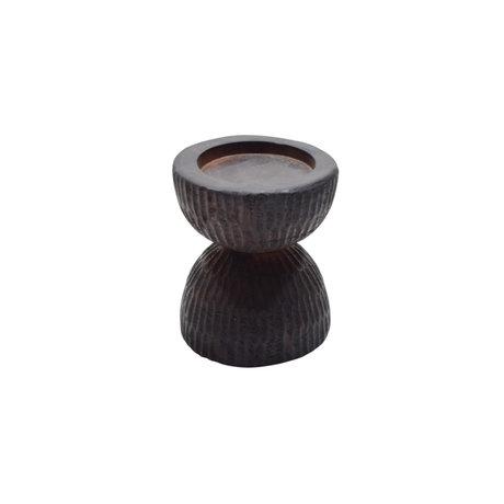 WOOOD Folko candlestick dark brown mango wood 28x28x33cm