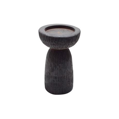 WOOOD Kandelaar Folko donker bruin mangohout 28x28x43cm