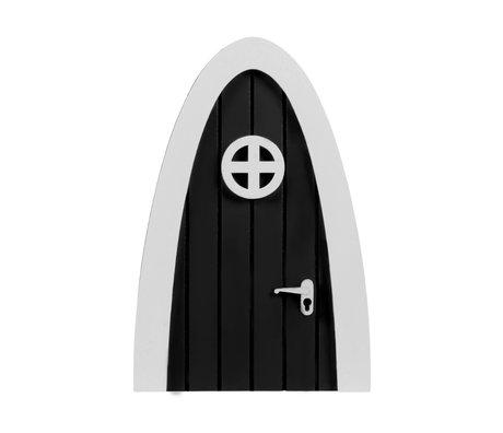 A Little Lovely Company Porte monstre avec autocollants vinyle bois blanc noir 10.2x15x0.8cm