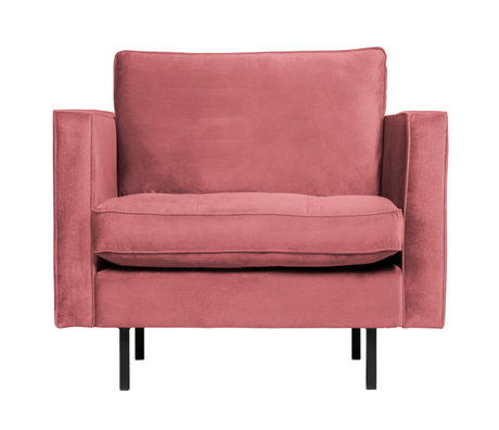 BePureHome Fauteuil Rodeo Classic roze fluweel 98x88x83cm