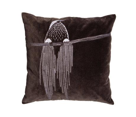 WOOOD Coussin décoratif Coco gris brun coton 50x50cm