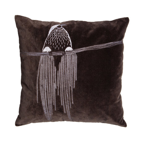 WOOOD Throw pillow Coco gray brown cotton 50x50cm