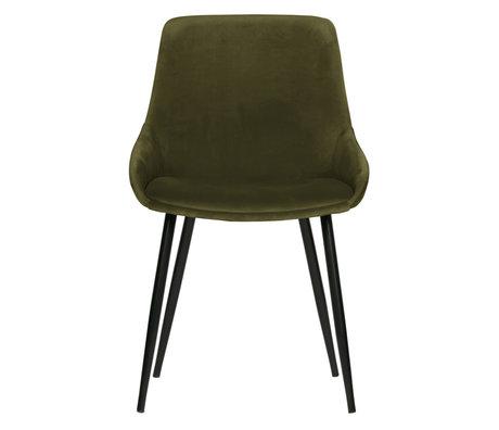 WOOOD Dining room chair Selin green velvet textile 83x51x55cm