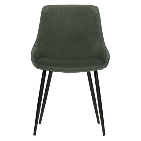 WOOOD Chaise de salle à manger Selin velours vert pâle textile 83x51x55cm