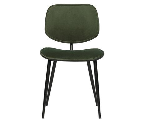 WOOOD Chaise de salle à manger Jackie velours vert textile métal 78x46x56cm