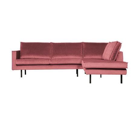 BePureHome Hoekbank Rodeo rechts roze fluweel 266x86/213x85cm