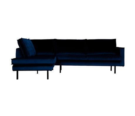 BePureHome Hoekbank Rodeo links donkerblauw fluweel 266x86/213x85cm