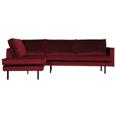 BePureHome Hoekbank Rodeo links rood fluweel 266x86/213x85cm