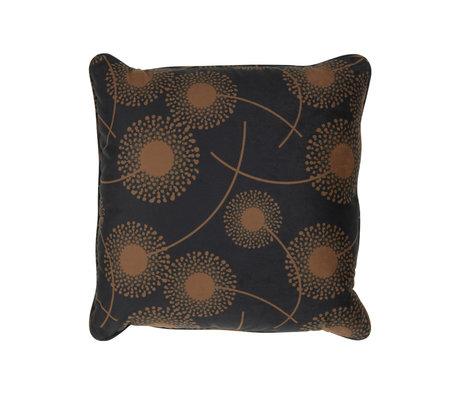 WOOOD Sierkussen Rocco Bloom zwart textiel 50x50cm