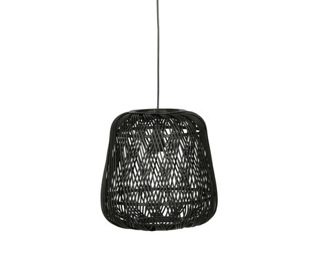 LEF collections Hanglamp Moza zwart bamboe Ø36x36cm