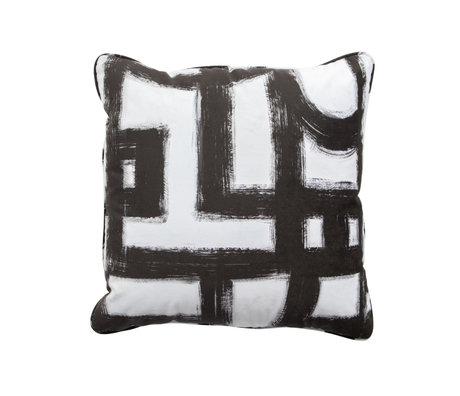 WOOOD Kissen Mond schwarz und weiß Textil 50x50cm