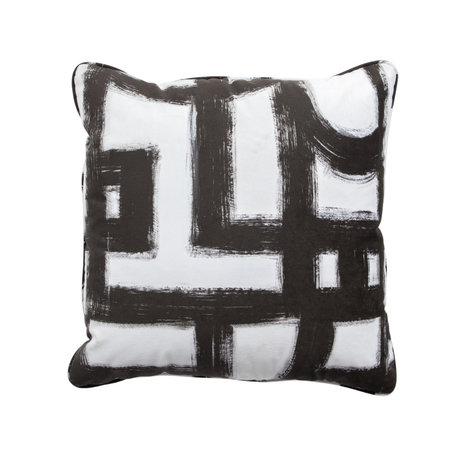 WOOOD Sierkussen Maan zwart wit textiel 50x50cm